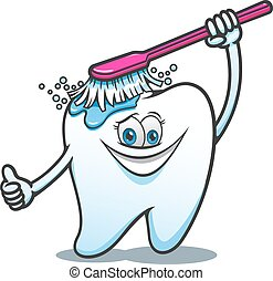 Cartoon happy tooth with brush cleaning ans washing. For...