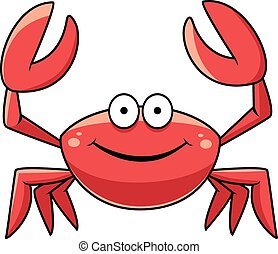 Happy red marine crab with big claws and a smiling face,...