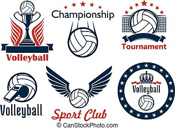 Volleyball tournament and club emblems - Volleyball...