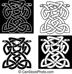 Intricate intertwined snakes emblems forming a geometric...