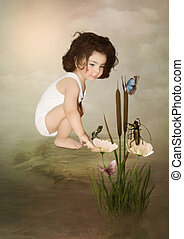 Little girl and butterflies - Little girl in the white...