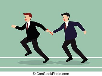 Businessman passing the baton in a relay race Partnership or...