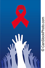Trying to reach an AIDS solution - A group of raised hands...
