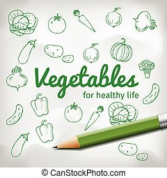 set of doodle vegetables with green pencil
