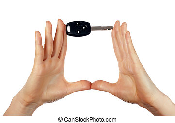 Hands holding an automobile key