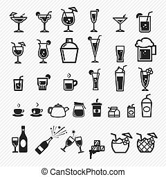 Cocktail icons set. illustration ep