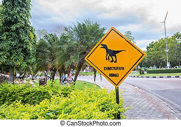 amarillo, tráfico, etiqueta, con, Dinosaurio,...
