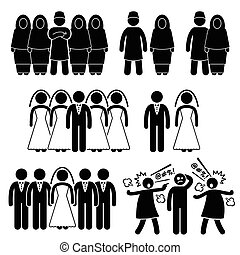 Polygamy Marriage Muslim Islam - Human pictogram concept...
