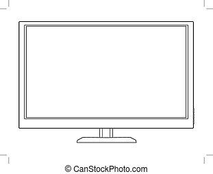 led tv - outline illustration of led tv