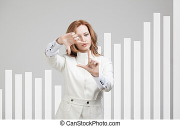young businesswoman working with graph - young businesswoman...