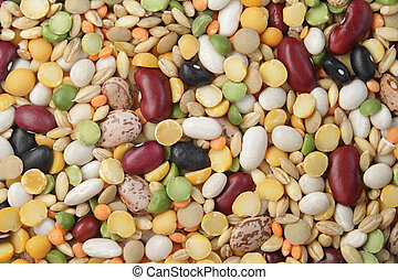 Mix of beans and cereals - Close-up photo of various beans...
