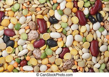 mezcla, frijoles, cereales