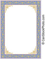 ornate blue floral border