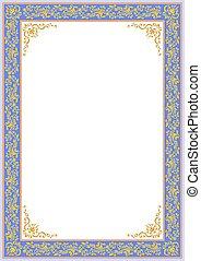 ornate blue floral border