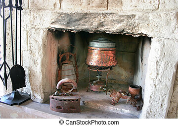 Fire-place in old house - Vintage fire-place with kitchen...
