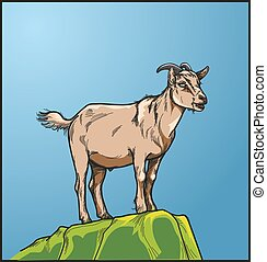 A female goat on the green hill - Vector, illustration a...