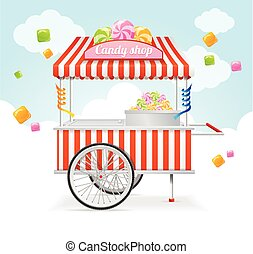 Candy Cart Market Card Vector - Candy Cart Market Card Sale...