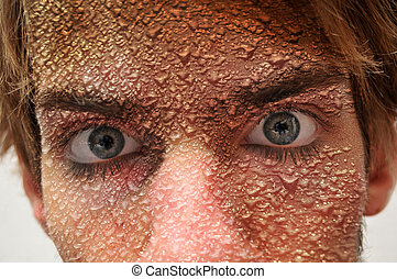 Face with waterdrops sweat - Man with water drops all over...