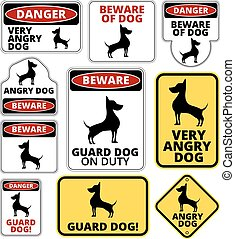 Danger Dog Signs Humorous Comic Labels and Plates Collection...