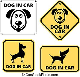 Danger - Dog in Car Signs Humorous Comic Labels and Plates...