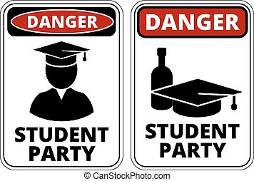 Student party - Drunk student party funny joke danger signs...