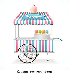 Ice Cream Cart Market Card Vector - Ice Cream Cart Market...
