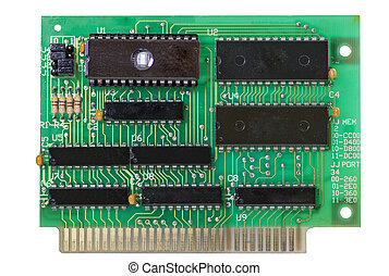 electronic digital circuit green board, isolated white...