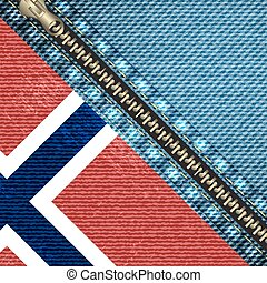 realistic denim background with norway flag and stitch effect