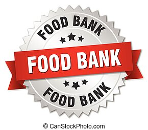 food bank 3d silver badge with red ribbon