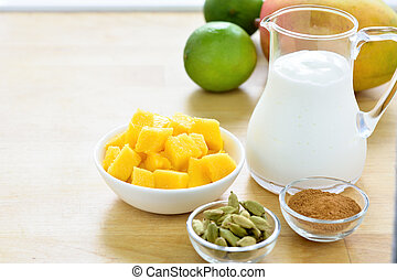 Mango lassi smoothie ingredients. - Mango lassi ingredients....