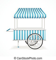 Market Cart Vector - Market Cart Mobile in Blue and White...