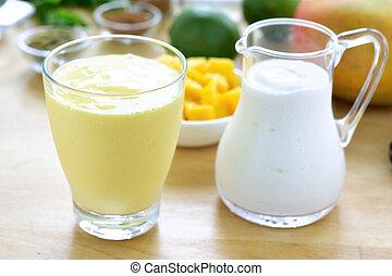 Mango lassi smoothie drink. - Mango lassi. Mango smoothie...