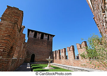 Castelvecchio Museum in Verona - A fountain and garden...