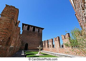 Castelvecchio Museum in Verona - A fountain and garden...