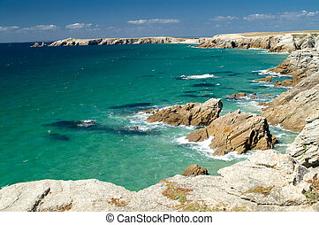 Cote Sauvage - Cliffs and sea, Cote Sauvage, Britany, France
