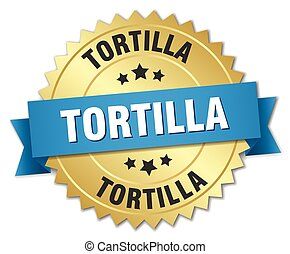 tortilla 3d gold badge with blue ribbon