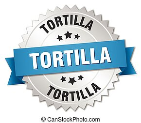 tortilla 3d silver badge with blue ribbon