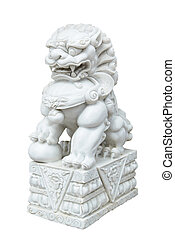 white marble Chinese Imperial Lion, Guardian Lion, Chinese...