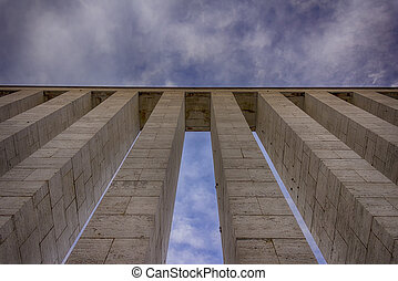 Columns against sky HDR - set of columns viewed from below...