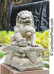 Chinese Imperial Lion, Guardian Lion stone, Chinese style in...