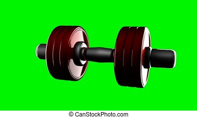 loop rotate dumbbell at green chromakey