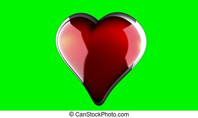 rotate heart on green chromakey