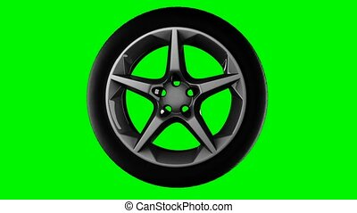 rotate wheel on green chromakey