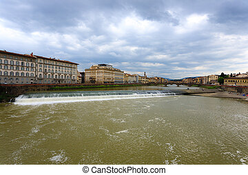Florence panorama - A view of Florence from a bridge over...