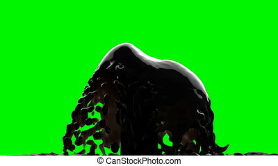 black oil on green chromakey