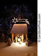 Nativity scene - Natural crib in the snowy winter landscape
