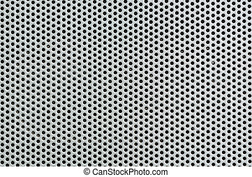 Metal silver Background with Holes Metal Grid - Metal silver...