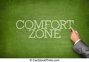 Comfort zone text on blackboard with businessman hand...