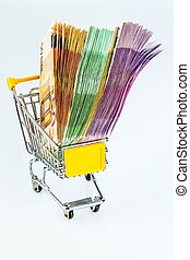 bills in a shopping cart - euro banknotes in a shopping...