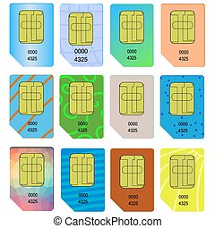 SIM Card - Set of Different SIM Cards Isolated on White...